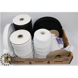 LARGE LOT OF ELASTIC SPOOLS AND SEWING SUPPLIES