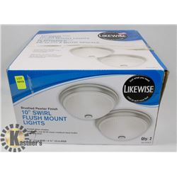 "2 PACK OF 10"" SWIRL FLUSH MOUNT LIGHT"