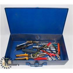 BLUE METAL BOX WITH CONTENTS OF VARIOUS HAND TOOLS