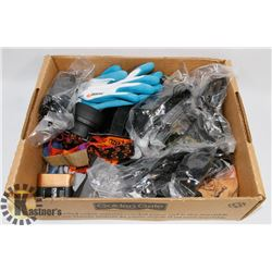 FLAT OF SAFETY GLOVES, GLASSES, HEADLAMP & MORE