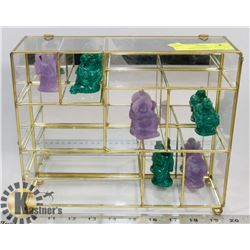 BRASS & GLASS DISPLAY WITH JADE LIKE BUDDA FIGURES