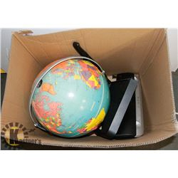 BOX WITH GLOBE, PAPER CUTTER, AND PAPER SHREDDER