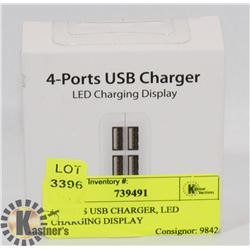 4 PORTS USB CHARGER, LED CHARGING DISPLAY