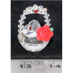 SWAROVSKI CRYSTAL FLOWER BASKET HEART