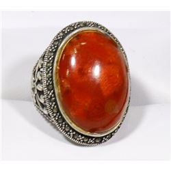 LAPIDARY STONE 925 SILVER RING, INTRICATE DESIGN