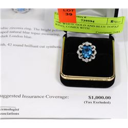 10K WHITE GOLD AND BLUE TOPAZ RING, COMES WITH