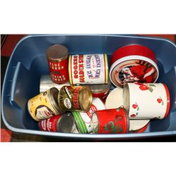 TOTE OF COLLECTIBLE TINS