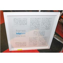 WHITE PICTURE FRAME-HOLDS 8 PICTURES