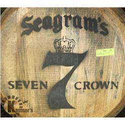SEAGRAMS 7, SEVEN CROWN LOGOED BARREL,