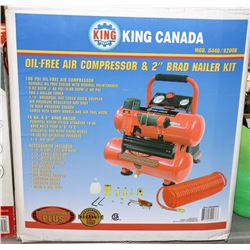 KING CANADA OIL FREE 100PSI AIR COMPRESSOR.