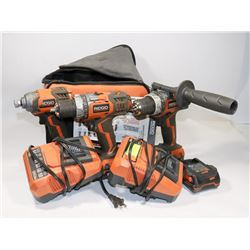 RIDGID 18V LITHIUM DRILL KIT INCL 2 CHARGERS,