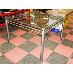 "54""X54"" GLASS TOP TABLE WITH SILVER LEGS."