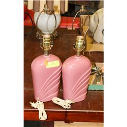 PAIR OF PINK TABLE LAMPS - NO SHADES.