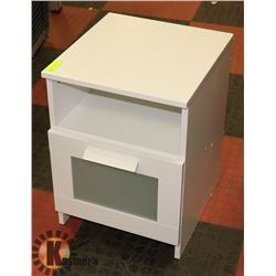 WHITE END TABLE GLASS DRAWER