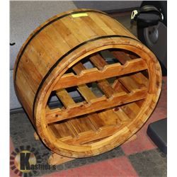"WOOD BARREL WINE RACK 25"" TALL"