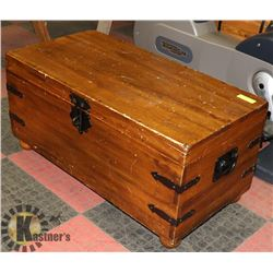 "WOOD CHEST 17"" TALL  X 35"" LONG 17"" WIDE"