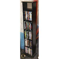 DVD / CD SHELF, CONTAINS OVER 75 MOVIES.