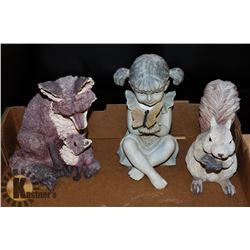 3 GARDEN ORNAMENTS-FOX, SQUIRREL & GIRL WITH