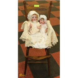 LOT OF TWO 1950S PORCELAIN DOLLS