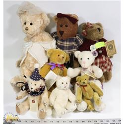 LOT OF 8 COLLECTIBLE BEARS - SOME WITH GLASS EYES