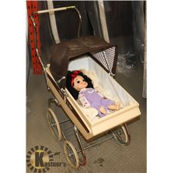 VINTAGE CHILDS DOLL CARRIAGE WITH DOLL