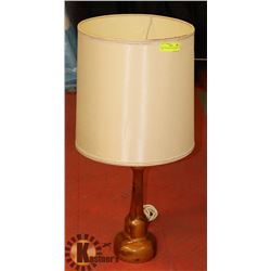 """SOLID WOOD BASE TABLE LAMP, 31"""" TALL"""