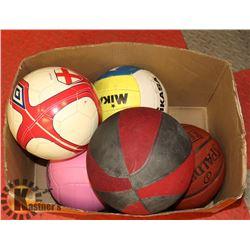 BOX W/ BALLS INCL SOCCER, FOOTBALL, BASKET BALL,
