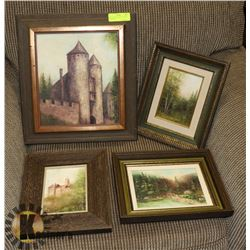 SET OF 4 ESTATE OIL ON CANVAS PAINTINGS.