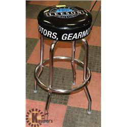 BLACK LEESON ELECTRIC MOTORS BAR STOOL.