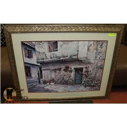 """OLD WORLD VILLA"" FRAMED PRINT 41 X 33"