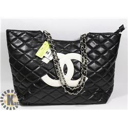 CHANEL REPLICA BLACK PURSE WHITE LOGO