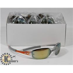 BOX OF OAKLEY STYLE ORANGE AND SILVER DESIGNER