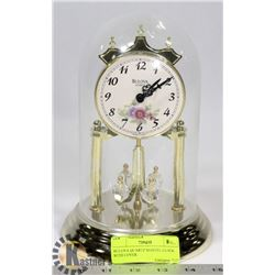 BULOVA QUARTZ MANTEL CLOCK WITH COVER.