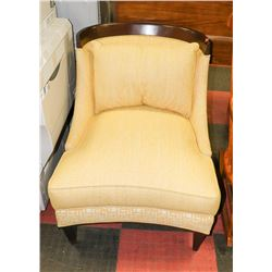 MODERN WOOD AND FABRIC FORMAL CHAIR