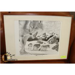 FRAMED MATTED SIGNED WOLF PRINT WITH SECOND