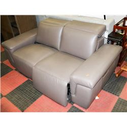 """GREY LEATHER ELECTRIC RECLINING 72"""" LOVESEAT"""