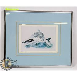 """FRAMED & SIGNED SUE COLEMAN PRINT """"THE ORCA""""."""