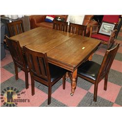 1907 MAHOGANY BASE RED WOOD TOP TABLE (42X42X31)