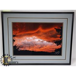 SIGNED MATTED SUNSET PRINT.