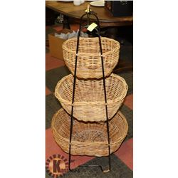"3 TIER BASKET STORAGE STAND, 43"" TALL"