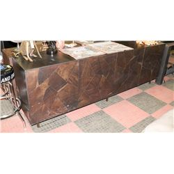 WOOD CREDENZA W/FAUX ROCK STYLE FRONT,