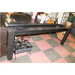 "BLACKWOOD KITCHEN TABLE, 84.5""X42.5""X30""."