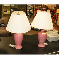 PAIR OF PINK TABLE LAMPS.