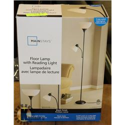 NEW MAINSTAYS BLACK FINISH FLOOR LAMP WITH