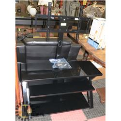 "BLACK GLASS THREE SHELF TV STAND, 41""X19""X48""."