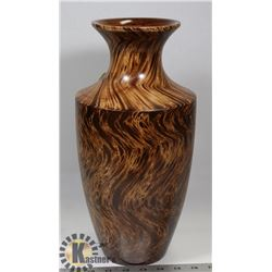SOLID WOOD SWIRL DESIGN VASE.