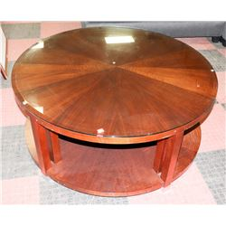 ROUND WOOD COFFEE TABLE W/GLASS TOP