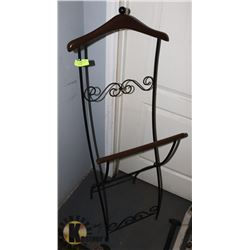 WROUGHT/WOOD TRIM VALET STAND - FOLDS FOR