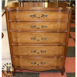 5 DRAWER FRENCH PROVINCIAL HIGH BOY DRESSER.