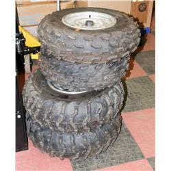 SET OF 4 ATV AT25X8R12 TIRES WITH RIMS.